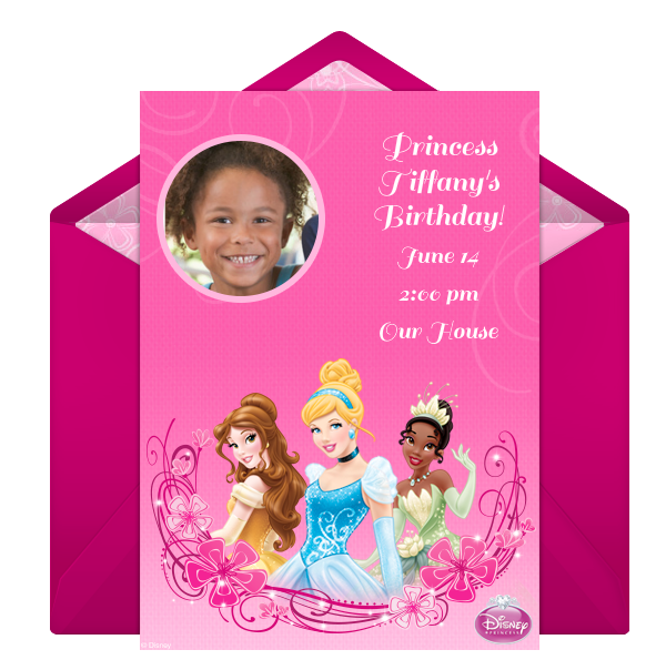 disney princess online photo invitation