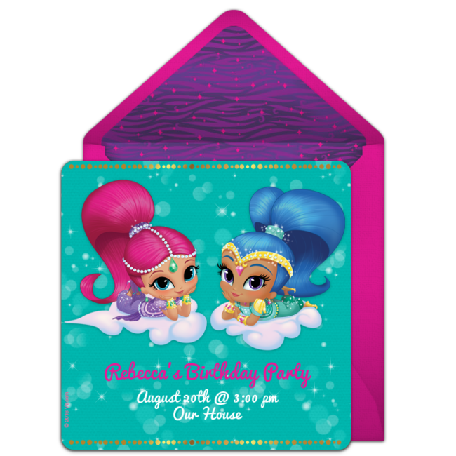 Shimmer and Shine Birthday Party Online Invitation