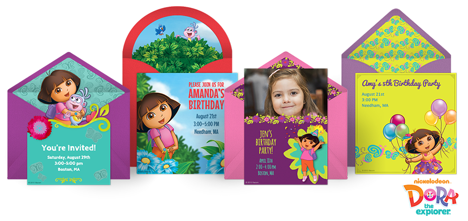 free dora invitations, dora the explorer online invitations, Birthday invitations
